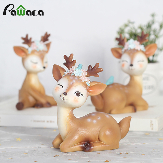 Cute Sika Deer Fairy Garden Miniatures Resin Crafts Animal Model Figurines for Home Office Car Decoration Ornaments Kids Gift