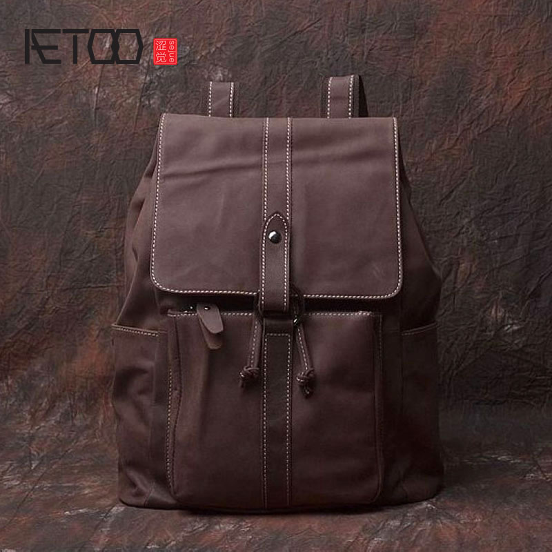 AETOO New original retro art men and women general leather first layer of leather shoulder bag simple leisure travel package art of war