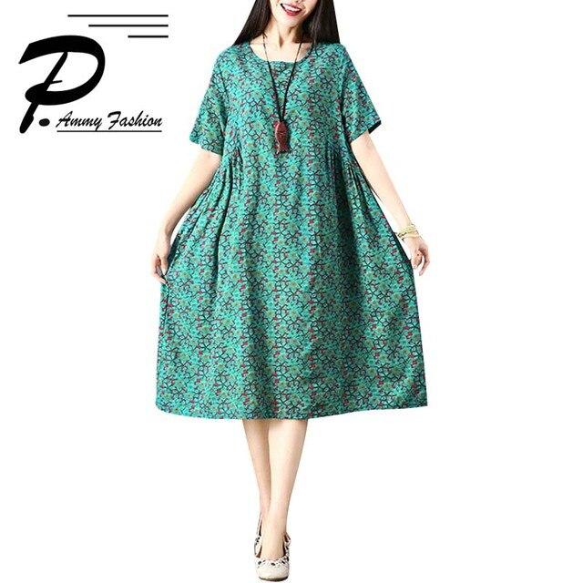 b709b0bc3bf0f6 2018 Style chinois imprimé Floral à manches courtes coton lin pull Vintage  robe d'été tunique de grande taille lâche robes