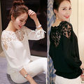 Loose Blouse Shirts Women Lady Tops Blouse 2016 New Fashion Womens Lace Sheer Long Sleeve Flower Casual