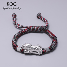 999 Sterling Silver Wolf Charm Bracelet For Men With Durable Umbrella Rope Outdoor Army Fans Hand-woven Handmade Jewelry