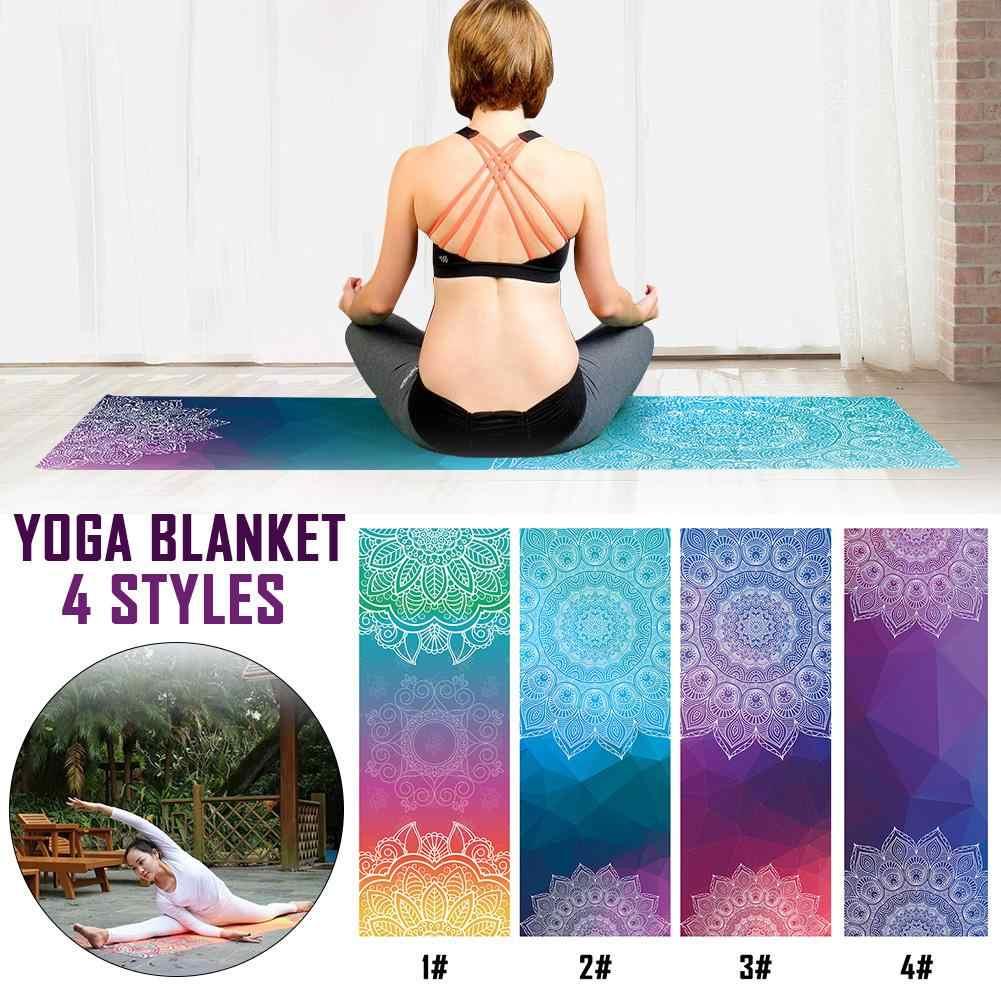 Yoga Towel Comfortable Non-slip Pilates  Vintage Print Workout Blanket Colorful