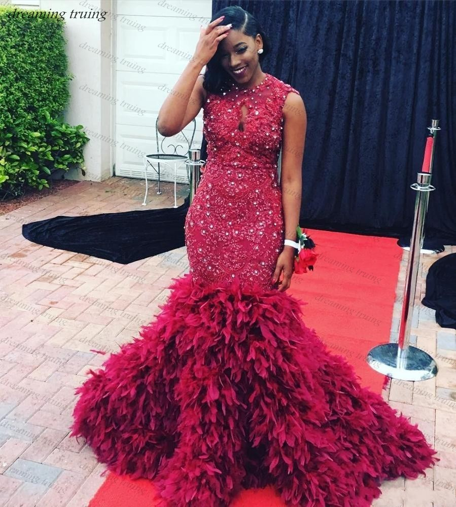 South African Sparkling Backless Mermaid Prom Gown For Black Girls Long Feathers Train Burgundy 2019 Gala Evening Party Dress