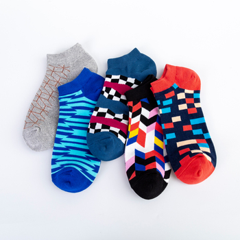 Jhouson Men's Casual Novelty Colorful Summer Ankle Socks Happy Combed Cotton Short Socks Plaid Geometric Pattern Dress Boat Sock 1