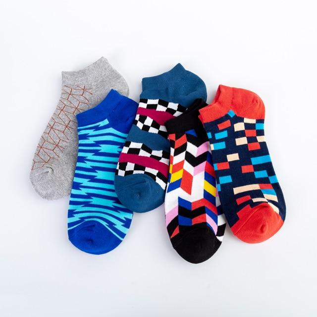 Jhouson Men's Casual Novelty Colorful Summer Ankle Socks Happy Combed Cotton Short Socks Plaid Geometric Pattern Dress Boat Sock 1