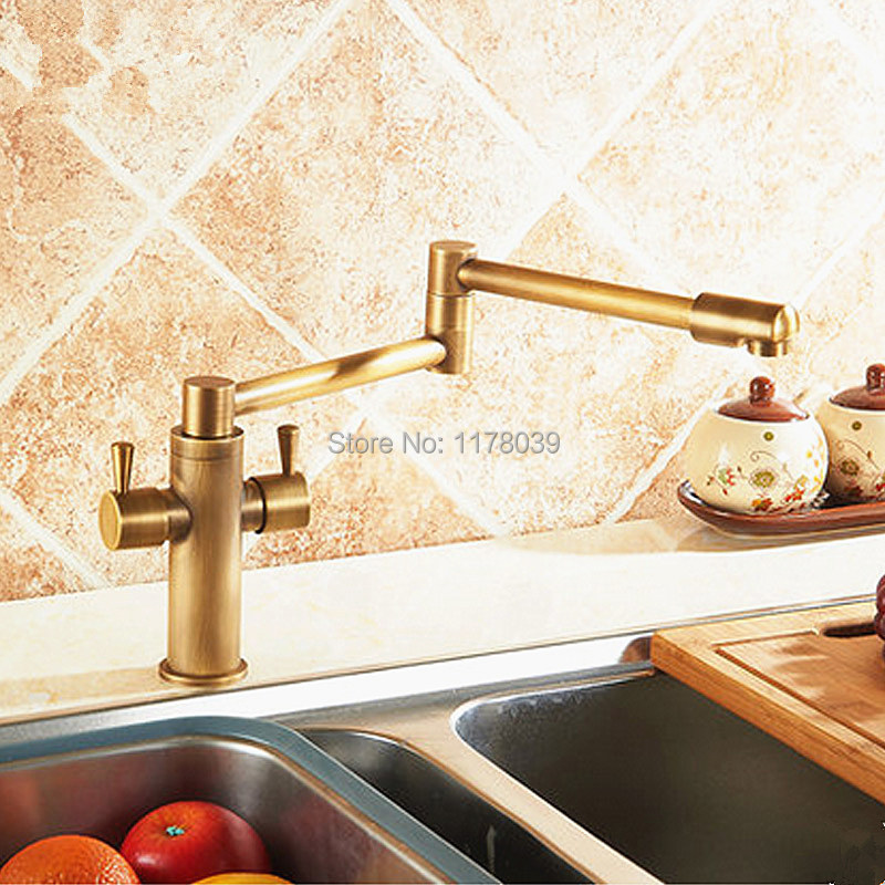 Antique Brass Single Handle Kitchen Faucet,Folding
