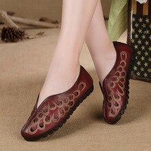 Original New Genuine Leather Handmade Comfortable Soft Bottom Women Shoes Retro Literary Casual Shoes Women Flats 201-83-1A