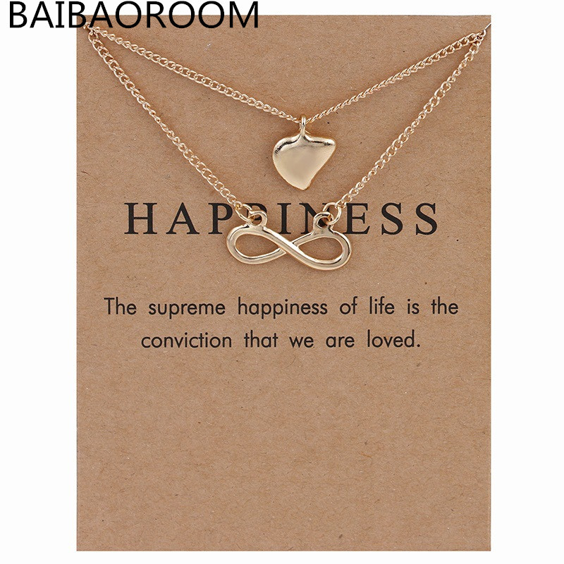 Sparkling infinite love Love Heart Pendant Necklace multilayer necklace Gold-color Statement Necklace Women Jewelry