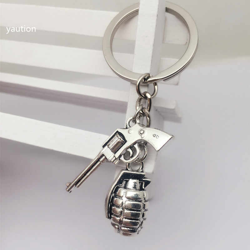 1pcs New Antique silver 3D Military Grenade + Gothic metal gun Pendant Keychain