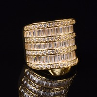 Handmade Lady S Luxury Pave Square T Simulated Diamond Rings 18K Yellow Gold Plated Eternal Wedding