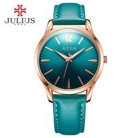 JULIUS Mens Wristwatch Simple Quartz Watch Korea Designer Leather Blue Green Luminous Wachs Clock for Lovers Montre Homme JA 983