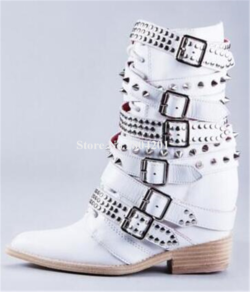 Brand Design Women Fashion White Leather Pointed Toe Straps Buckles Short Heel Height Increasing Rivet Ankle BootsBrand Design Women Fashion White Leather Pointed Toe Straps Buckles Short Heel Height Increasing Rivet Ankle Boots