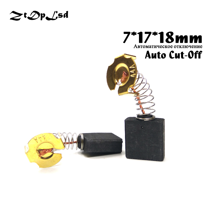 ZtDpLsd 2 Pcs/Lot 7x17x18mm Auto Cut-Off Mini Drill Electric Grinder Replacement Carbon Brushes Spare Parts For Rotary Tool