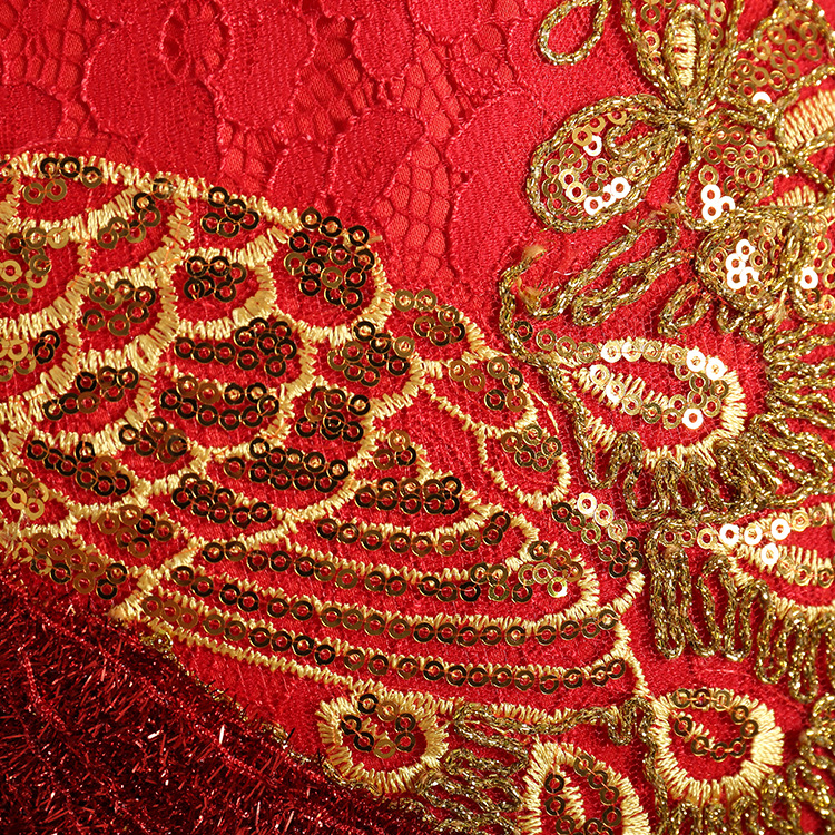 08938568a0c7a Girls Embroidered Peacock Dress Wedding Red Color Vintage China St...