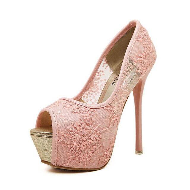 New Women Wedding Shoes Platform Peep Toe High Heels Lace Thin Heel 14 Cm  Bride Shoes Pure White Cute Pink Shoes Women ba1c4098d35d