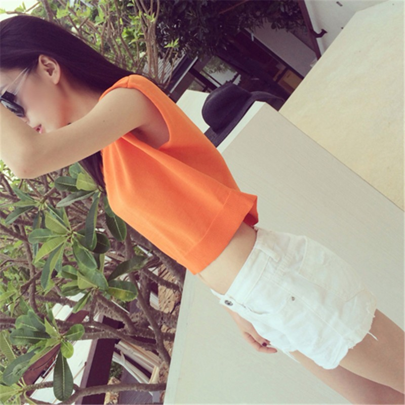 Summer 2016 Solid knitted short Pullover Sweater (44)