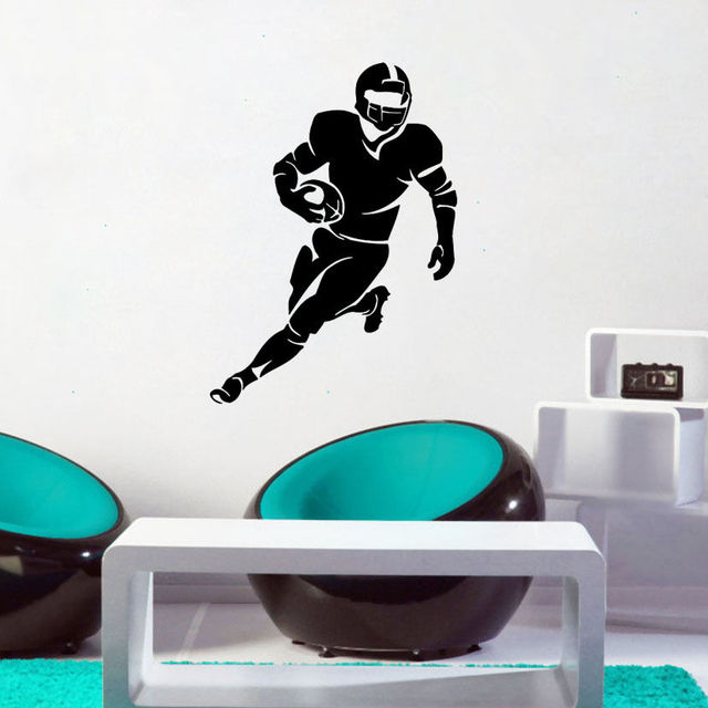 Rugby Action Silhouette Wall Sticker Rugby Sport Wall Decor Gym Wall Decoration