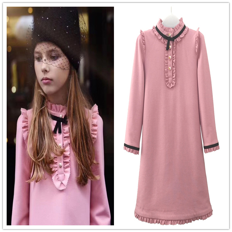WL.MONSOON 2018 Children's dress pink  small  lace pleated baby princess dress  4-10year maison jules new junior s small s pink combo lace crepe contrast trim dress $89