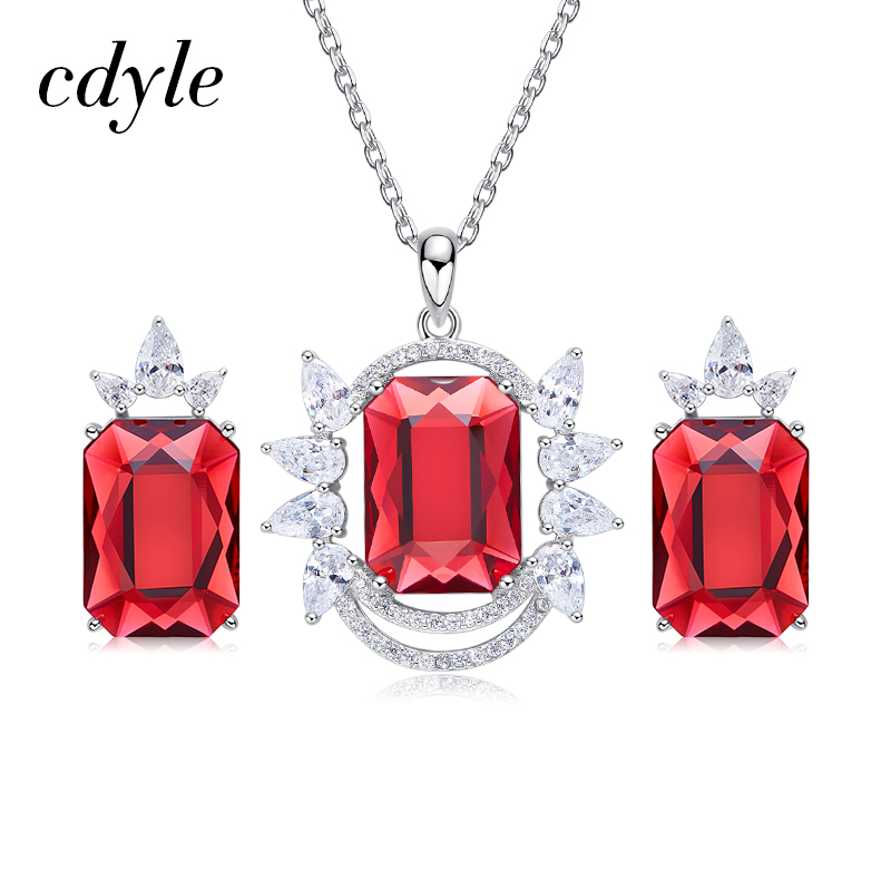 Cdyle cristaux de Swarovski collier boucles d'oreilles ensemble pour femmes nuptiale bijoux ensembles argent 925 rouge cristal cadeau fête des mères cadeau
