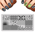 2017 New Set Design Lot Nail Art Templates Luxury Grid Mosaic Heart Pattern Stamp Polish Stainless DLY Nail Stamping Plates
