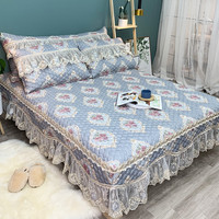 FAMVOTAR Luxury Lace Edge 60S Quilted Bedspread Set European style Floral Ruffled Bed Spread Rose Print Quilted Lace Bedspread