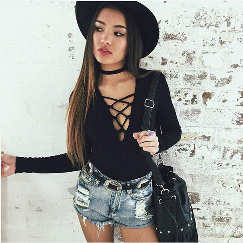 71a1629dfa Sexy Deep V neck Lace Up Bodycon Jumpsuit Romper Womens Jumpsuit Tops  Elastic Slim Long Sleeve Playsuit Short Bodysuit B8170-in Bodysuits from  Women s ...