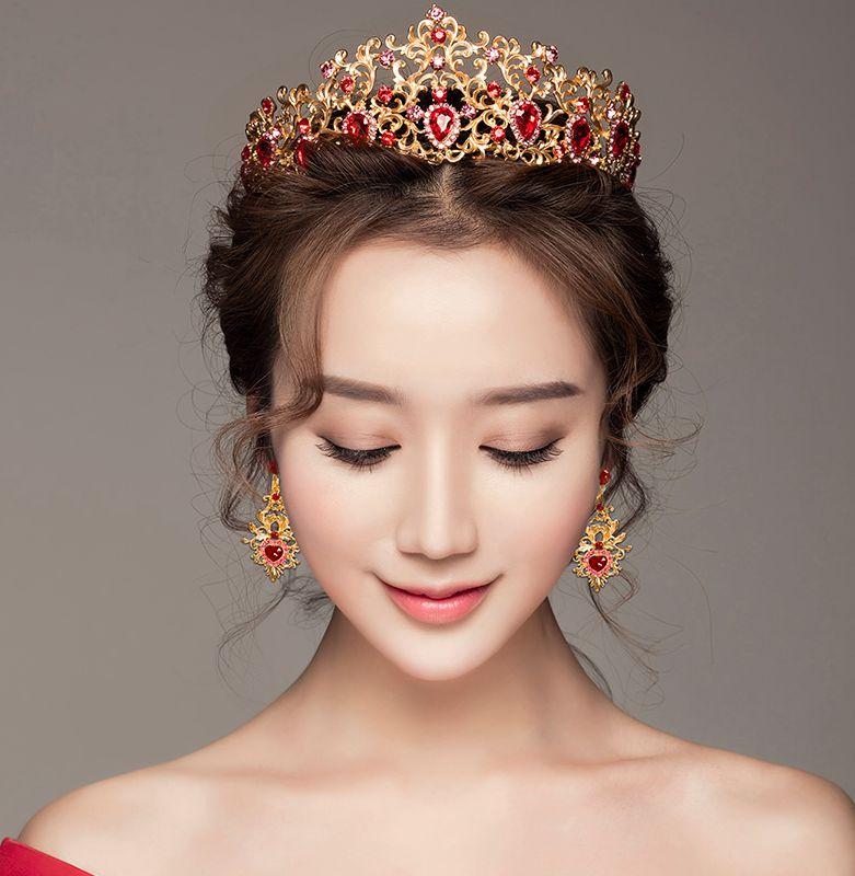 Red crystal rhinestones ladies Hair tiaras TS053 luxury gold red baroque female womens party dress proms birthday Hair crown