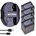 4 pièces BP-745 BP 745 Batterie + Chargeur Double USB pour Canon BP-709 BP-718 BP-727 BP-745 BP709 BP718 BP727 BP745 HF406 R306 R32 R30