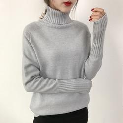 OHRYIYIE Women Turtleneck Winter Sweater 2019 New Khaki Beige Long Sleeve Knitted Pullovers Female Jumper Tricot Tops Pull Femme 2