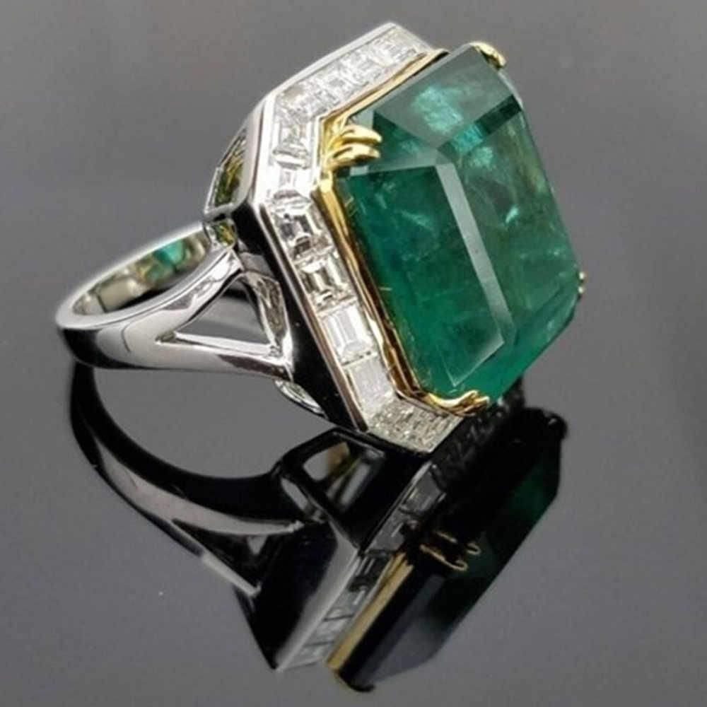 Серебряное Большое Квадратное кольцо с зеленым кристаллом, набор, модные свадебные и обручальные кольца, ювелирные изделия для женщин с австрийским кристаллом
