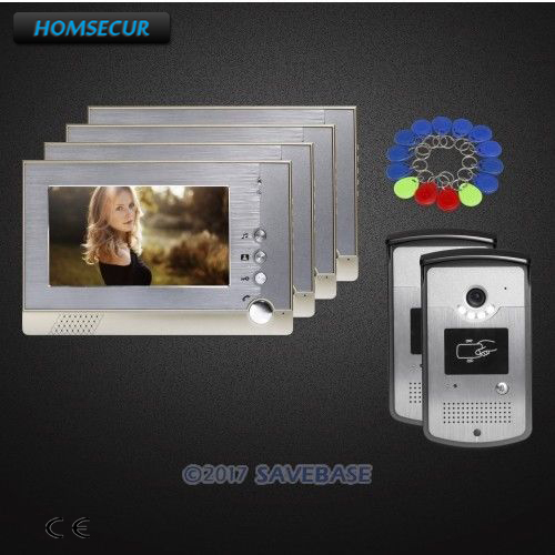 HOMSECUR 2 Outdoor Units + 4 Indoor Units 7 Wired Video Door Intercom System With Video & Dual-way Audio Communication