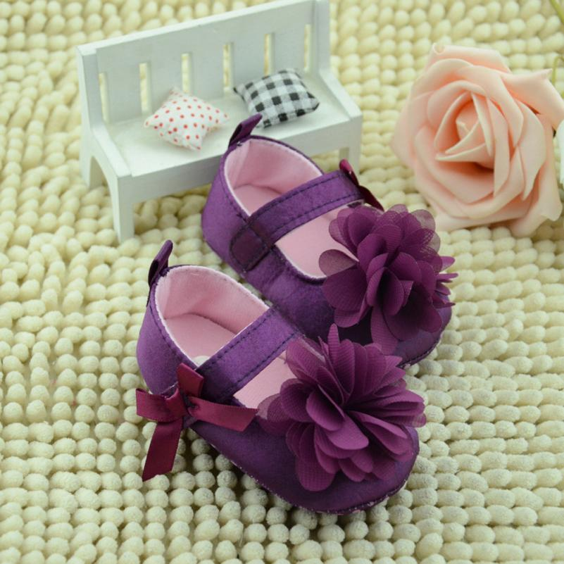2018 Toddler Kids Girls Shoes Bowknot Flower Sole Walking Shoes