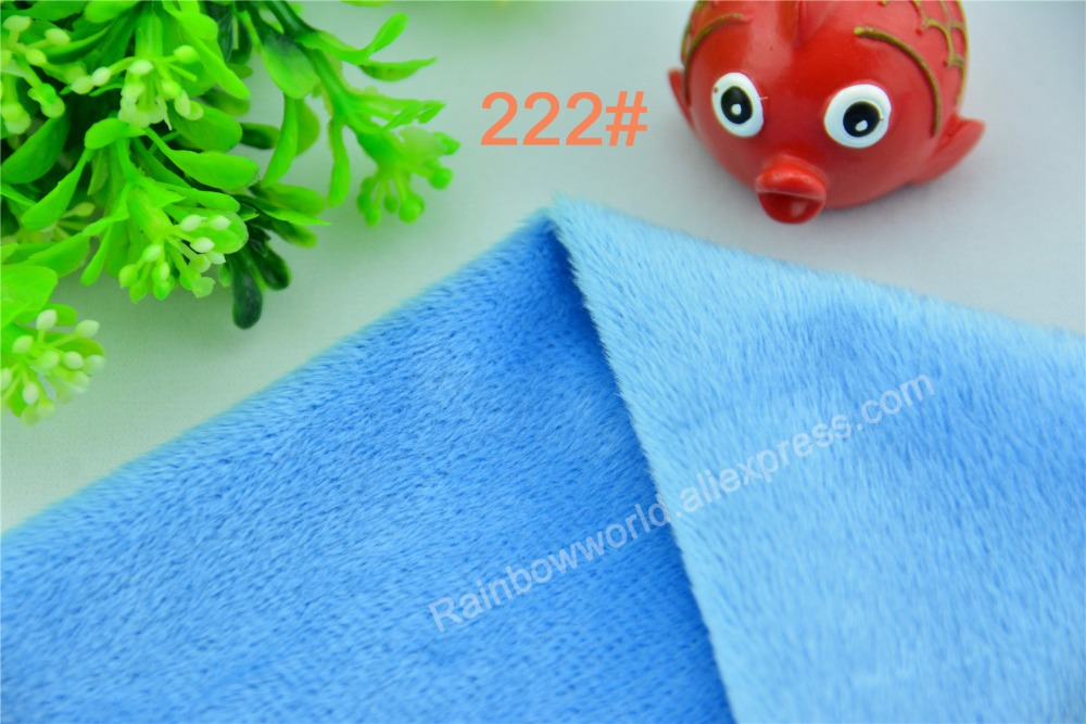 222# sky blue Super soft velvet fabric microfiber brushed velboa hair height 2-3mm for DIY toy blanket pillow(1 meter)