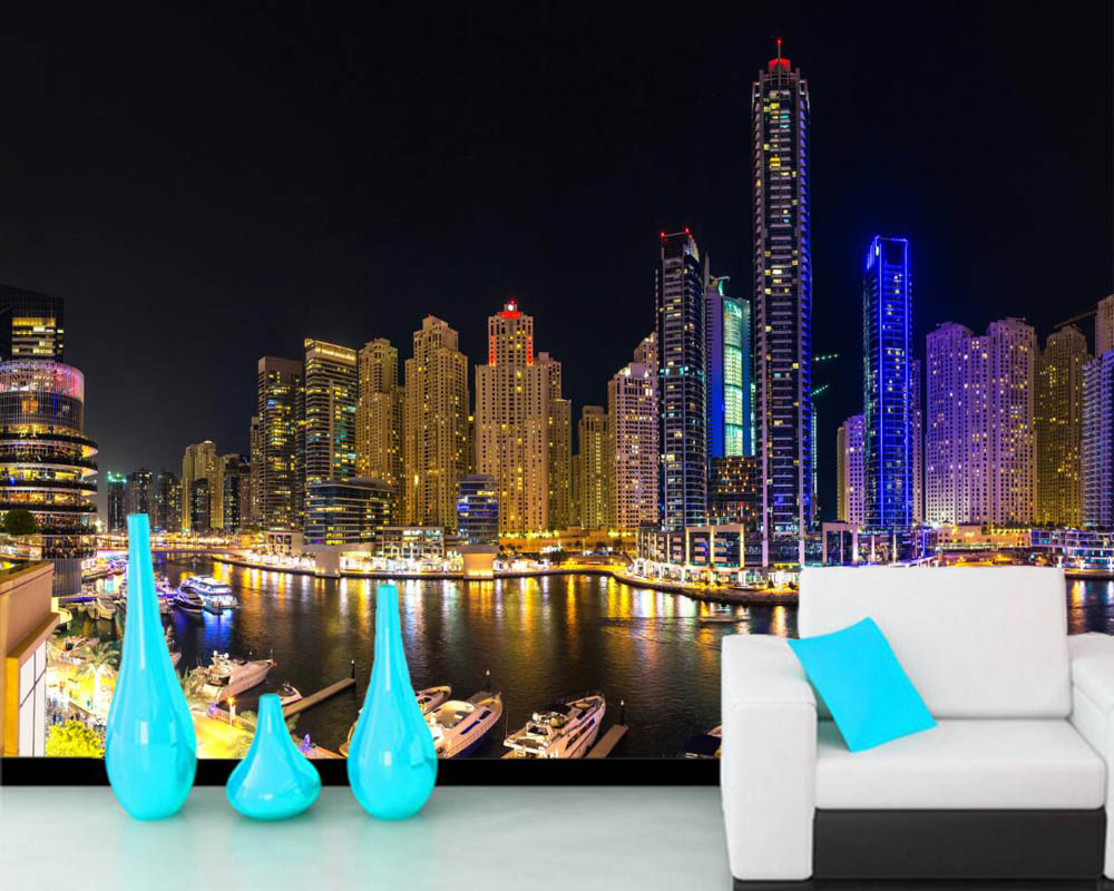 papel de parede House Skyscrapers Dubai City Building night time wallpaper,living room TV sofa wall bedroom kitchen custom mural