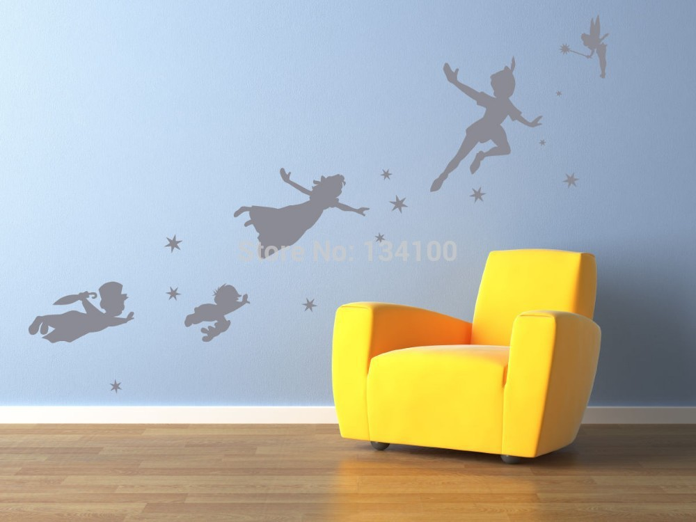 Cute Cartoon Figure Peter Pan Tinkerbell Removable Wall Decal Decoration  Mural Removable Stickers Kids Nursery Home