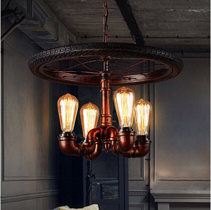 Iron Water Pipe Loft Style Pendant Lights 4 Lights Wheel Droplight Creative Hanglamp Fixtures For Bar Cafe Foyer Home Lightings creative iron loft style pendant light glass droplight concise hanglamp fixtures for home lightings bar cafe lamparas colgantes