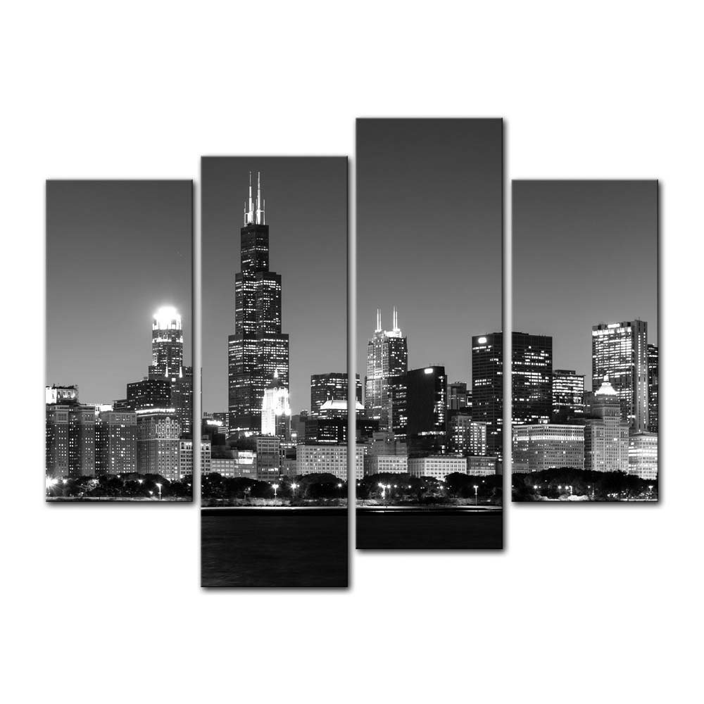 4 Pieces Modern Canvas Painting Wall Art Panoramic View Of Chicago Skyline  At Night Cityscape Print Giclee Artwork For Wall Deco In Painting U0026  Calligraphy ...