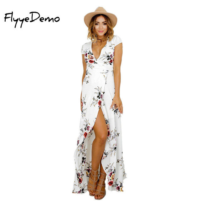 Sexy Floral Print 2018 Neue Sommer Kleid Maxi Hochzeit Party Kleid