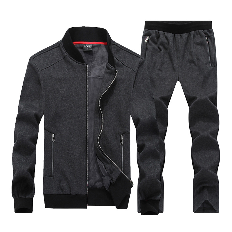 AmberHeard 2019 Fashion Winter Sporting Suit Men Set Jacket+Pant Sweatsuit 2 Piece Set Sportswear Thicken Tracksuit Clothing 8XL