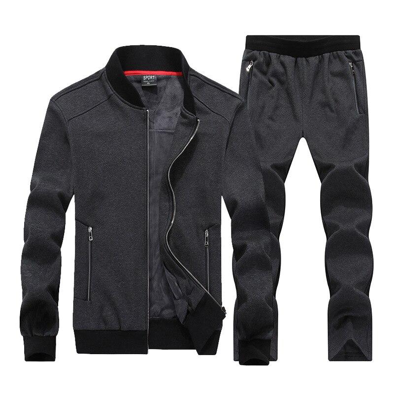 Amberulu 2019 mode hiver sport costume hommes ensemble veste + pantalon survêtement 2 pièces ensemble Sportswear épaissir survêtement vêtements 8XL