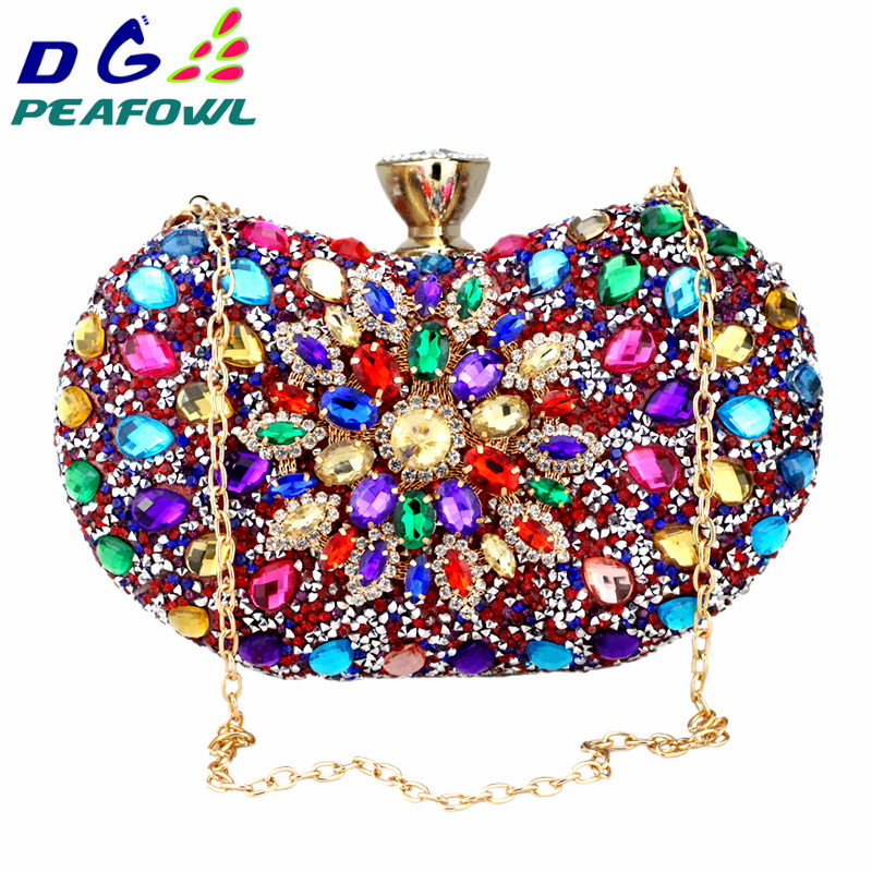 DG PEAFOWL Two Side Luxury crystal Floral Clutch chain bag evening woman diamond wedding Shoulder wallet purse Handbags 5 colors