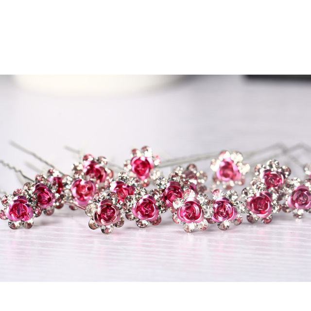Jewdy 20pcs/set rhinestone rose flower bright crystal hairpins fashion pave hair clip hair jewelry for women wedding hair pins