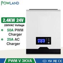 POWLAND onduleur solaire 2400W, 24/220V, 50a, PWM, régulateur à onde sinusoïdale Pure, 3kva, 50Hz, hors réseau électrique, chargeur de batterie 25a