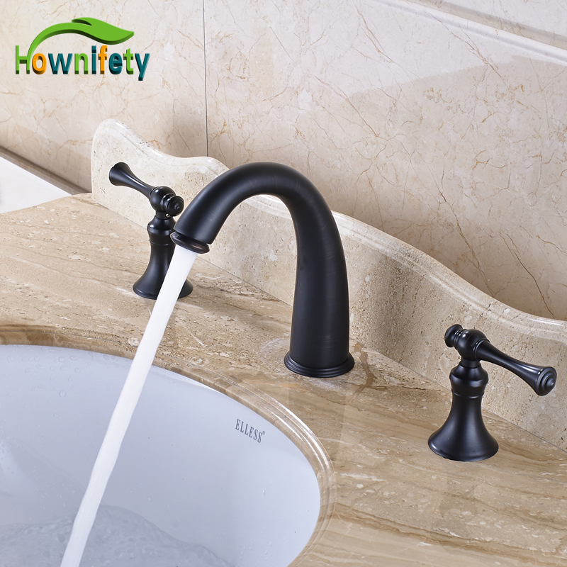 где купить Widespread 3pcs Double Handles Bathroom Sink Faucet Three Holes Mixer Tap Oil Rubbed Bronze дешево