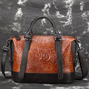 Genuine Leather Women Tote Handbag Ladies Vintage Embossing Top Handle Bag Female Rose Pattern Crossbody Shoulder Messenger Bags