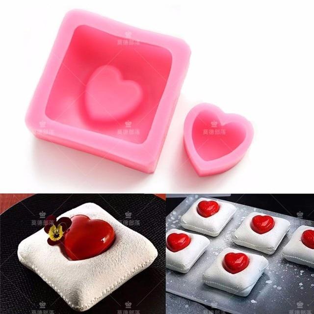 773 Liebe Herz Kissen Valentinstag Mousse Kuchen Silikonform Fondantkuchen  Formen Schokoladenform Benutzerdefinierte Backen Dekoration