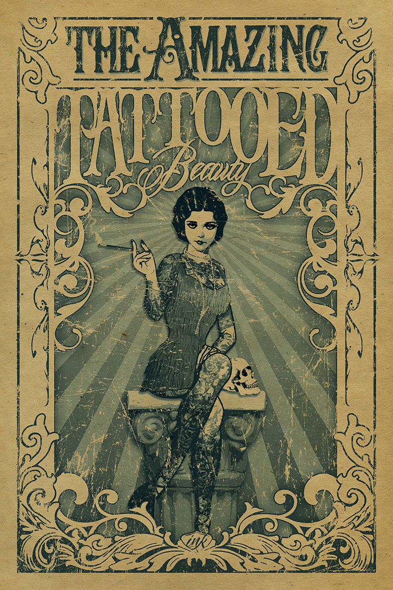 Vintage Circus Poster The Amazing Tattooed Lady Classic ...