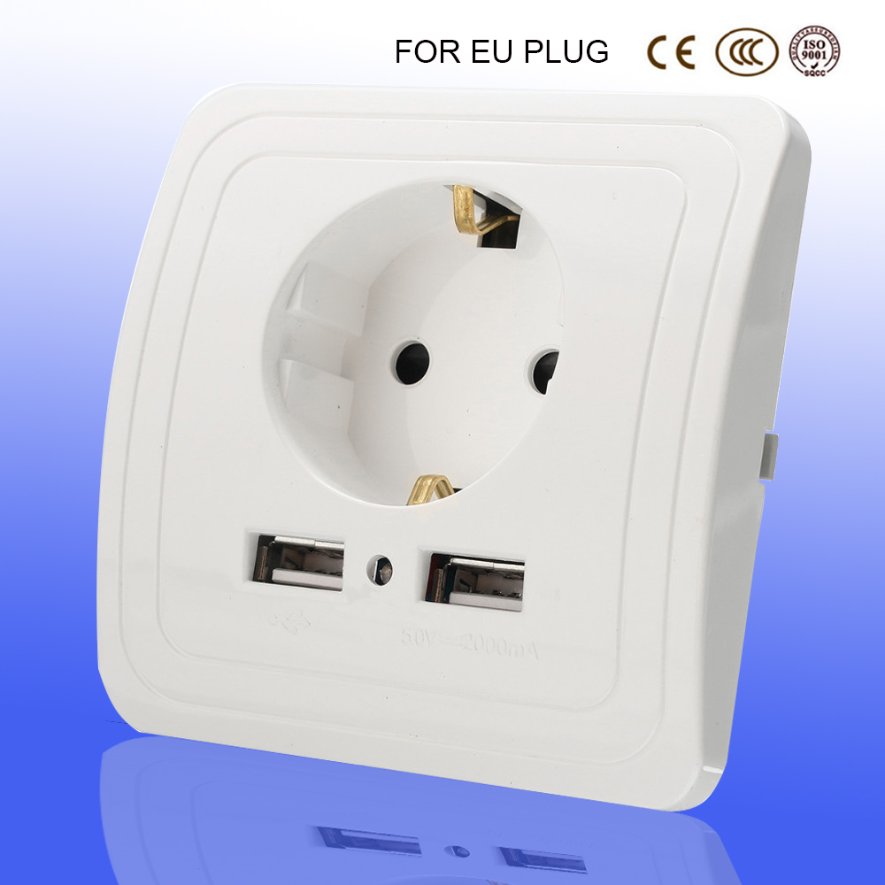 socket with usb 5V 2A Dual Wall Socket eu Ports Charger 16A 250V kitchen plug sockets Electrical Outlet dual usb wall charger