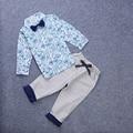 2016 Бренд детской одежды устанавливает Джентльмен весна осень мальчика костюм набор детей с длинным рукавом футболки + брюки + галстук-бабочку 46129