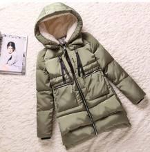 Куртка хлопок длинная, зима толстый женщины парки женщины ватные верхняя одежда — мягкий средний — пальто армейский зеленый BL1119